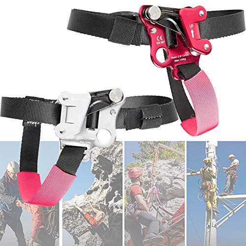 DFGENLY Fuß Ascender, Einstellbar Klettern Ascender Fußsteigklemme Seilklemme Klettergeräte für Linker/Rechter Fuß Luftfahrt Aluminium Material für 8-13mm SeilSet