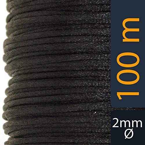 Aranato Satinkordel 100 Meter 2mm Durchmesser viele Farben schwarz Geschenkband Satinband