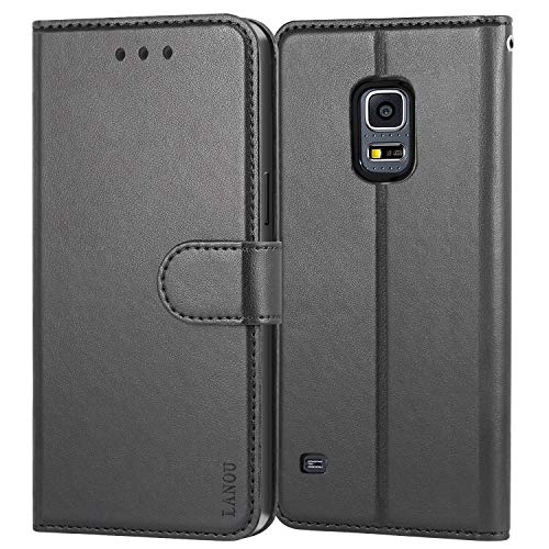 Galaxy S5 Case, LANOU Leather Case Samsung Galaxy S5 Wallet Cover Protective Case for Samsung S5 (Black)
