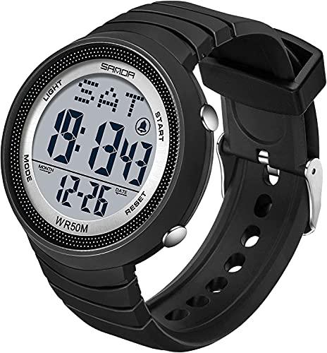 QHG Reloj Deportivo Digital Masculino DIRIGIÓ Pantalla de Cara Grande Relojes Militares para Hombres Alarma Simple Ejército Reloj Impermeable Casual Luminoso Cronómetro (Color : Blacksilver)