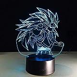 Luz estéreo Dragon Ball Super Saiyan Dios Goku Figuras de acción Lámpara de mesa de ilusión 3D 7 Luz...