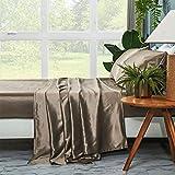 ZIMASILK 4 Pcs 100% Mulberry Silk Bed Sheet Set,All Side 19 Momme Silk(Queen Taupe)