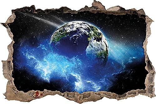 Sticker 3D Effekt   Wandaufkleber Erde im Kosmos- Tapete Dekoration optische Täuschung Raum und Wohnzimmer 53x80cm
