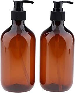 Blesiya 500ml Translucent Plastic Refillable Bottles with Black Lotion Pumps, Organize Soap, Shampoo, Lotion Empty Lightweight Containers 2Pcs - Amber