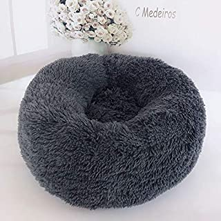 feelingood Pet Dog Cat Calming Bed Round Nest Warm Soft Plush Comfortable for Sleeping Winter (60CM, Dark Gray)