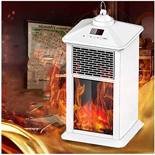 CZYNB Calentador Calentador eléctrico portátil de Espacio, Temperatura Constante automática calefactores de Patio, Calentador al Aire Libre con 3D Realista de la Llama y Seguro Calentador eléctrico