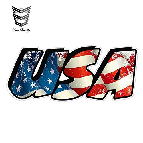 Sticker de carro 13 cm x 6 cm bandera americana usa letras calcomanía de vinilo calcomanías divertidas para automóviles calcomanía para el parachoques de la ventana del camión del cocheestilo A