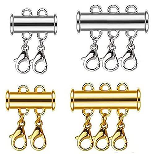 WENDAO 4 unidades de collares con cierre magnético múltiple, cierres magnéticos para pulseras y collares con capas (multicolor)