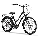 sixthreezero EVRYjourney Men's 21-Speed Step-Through Hybrid Cruiser Bicycle, Matte Black w/Black...