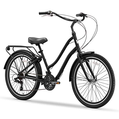 "sixthreezero EVRYjourney Men's 21-Speed Step-Through Hybrid Cruiser Bicycle, Matte Black w/Black Seat/Grips, 26"" Wheels"