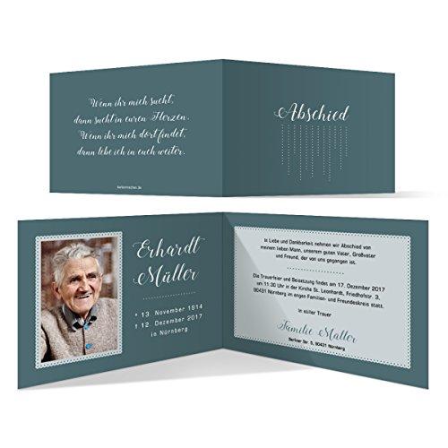 Individuelle Trauerkarten (10 Stück) Einladung Trauerfeier Karten - Regen Tropfen Punkte