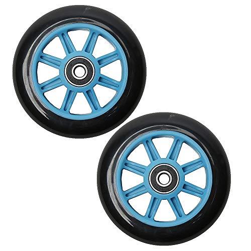 BLAZETOY Rollerräder mit Kugellager, Ersatz-Räder, 100 mm, 120 mm, 2 Stück, 100 mm blau/schwarz, 100mm