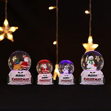 Saycker Christmas Snow Globe Lantern Santa Snowman LED Luminous Light Crystal Balls Xmas Holiday Desktop Ornaments Party Favo