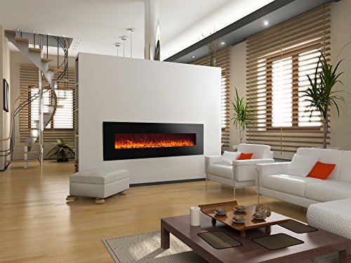 Chimenea eléctrica Glow Fire Mars XL, 182 cm de ancho, calefactor de 1500 W, iluminación LED de colores, pantalla protectora, regulador de intensidad, mando a distancia