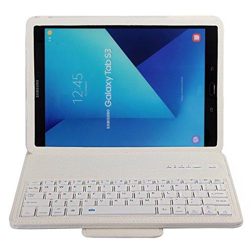 J&H Samsung Galaxy Tab S3 9.7 Funda de piel con teclado de 9.7 pulgadas, funda de piel sintética, teclado Bluetooth inalámbrico para Samsung Galaxy Tab S3 9.7 pulgadas [SM-T820/SM-825]