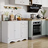 HOMECHO Sideboard Storage Cabinet, Floor Kitchen Buffet Server Cupboard, 3 Doors & 2 Drawers Console Cabinet for Dining Room, Living Room, Hallway, White