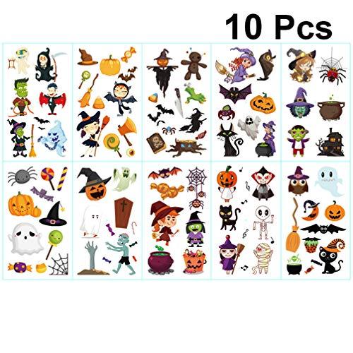 Toyvian 10 Piezas de Pegatinas de Tatuaje de Halloween para niños Accesorios de Maquillaje de Calabaza para Halloween