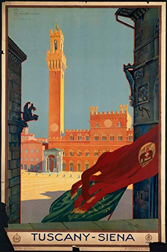 EzPosterPrints - Vintage Style Travel Poster Series- Poster Printing - Wall Art Print for Home Office Decor - Tuscany-Siena - 12X18 inches