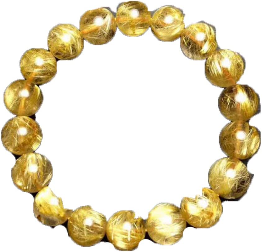Natural Gold Mail order Hair Rutilated OFFicial shop Quartz Round Beads Bracelet Crystal
