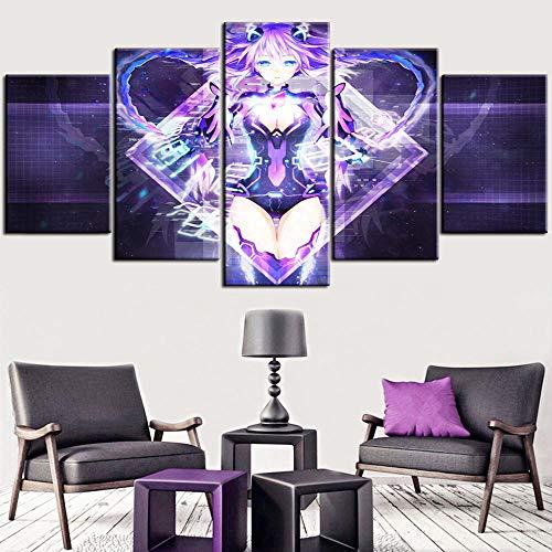 Prints On Canvas 5 Pieces,Anime Hyperdimension Neptunia Neptune Canvas Modular Poster Modern Creative Home Decor Wall Art Size B No Frame