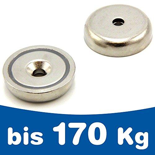 Topfmagnet mit Bohrung und Senkung - Neodym N35 (NdFeB) - Ø10-75mm - Haftkraft bis 170kg - Extra Starke Neodym Magnete mit Senkbohrung - Haft- Montage- & Greif-Magnet, Größe:Ø 42 mm | 45 kg