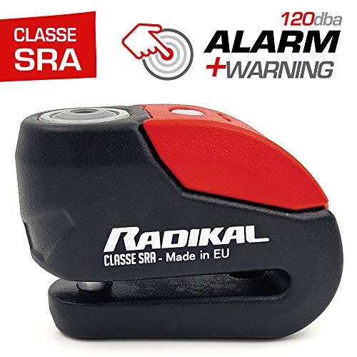 Radikal RK10 Antirrobo Disco con Alarma 120db +warning, ø10 doble cierre, Homologado SRA