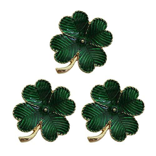 ABOOFAN 3pcs Vintage Women Brooch Pin Four Leaf Clover Clothes Brooch Brooch Pin Accessory