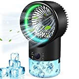 Portable Air Conditioner, Mini Evaporative Air Conditioner Fan Small Desktop Fan Ultra-Quiet Humidifier Misting Personal Air Cooler Cooling Fan with 3 Speeds 7 Colors Light for Home Office Room, Air Cooler