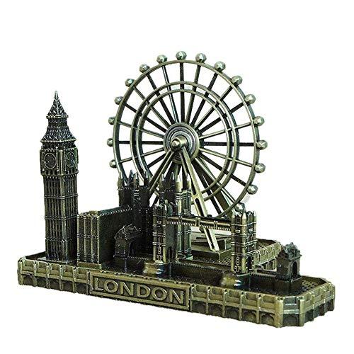 ToyHero® - Figura decorativa de metal con diseño de Londres, diseño de Big Ben y torre del Reino Unido
