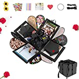 ASANMU Caja de explosión de fotos, caja sorpresa, caja de explosión, caja sorpresa, caja pequeña creativa, regalo para el día de la madre, aniversario, cumpleaños, boda (negro)