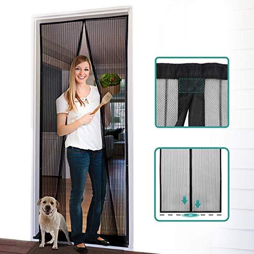 Mosquitera con 18 imanes para balcón y puerta ventana para una rápida fijación a ventanas y balcones de madera y aluminio sin umbral (210 x 100 cm), color negro