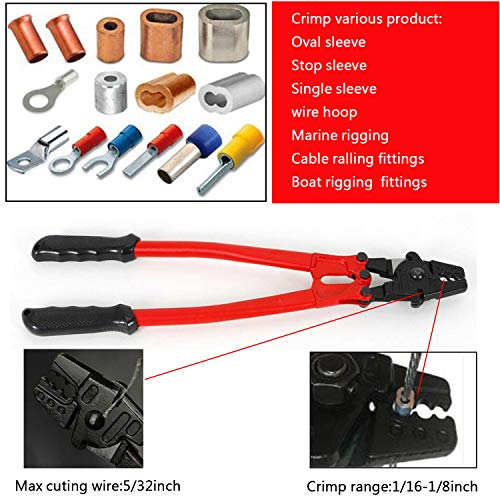 Lehom 17'' Wire Rope Crimping Tool Hand Swager Crimper Ferrule Swaging Tool for 1/8 7/64 3/32 5/64 1/16 inch Stainless Steel, Copper, Aluminium Sleeve
