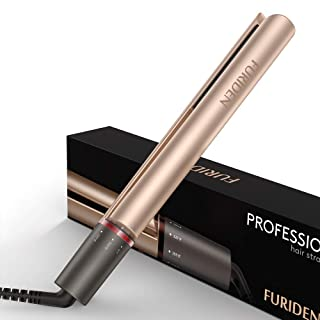 Professional Flat Iron Hair Straightener, FURIDEN Flat Irons for Thick Hair, Hair Straightener and Curling Iron 2 in 1 (Gold)