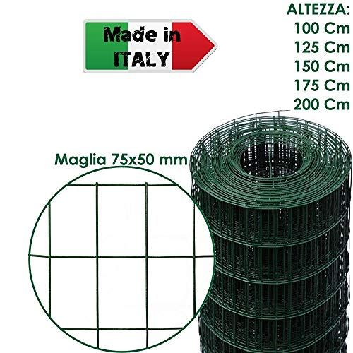 ROTOLO 25 m RETE METALLICA ZINCATA PLASTIFICATA ELETTROSALDATA PER RECINZIONE (100 cm)
