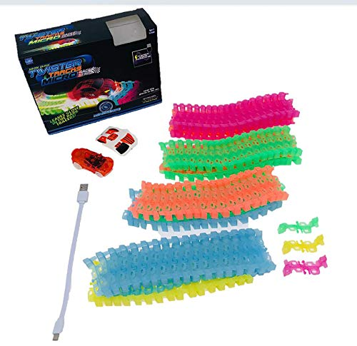 Mindscope Twister Tracks Micro Neon Glow in The Dark 11 feet of Flexible Assembly Track Race Series with Rechargeable Car