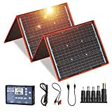 DOKIO 160W Solar Panel Kit Monocrystalline Portable Flexible Folding include Solar Charge Controller and PV Cable for 12V Battery Charging Camper Van