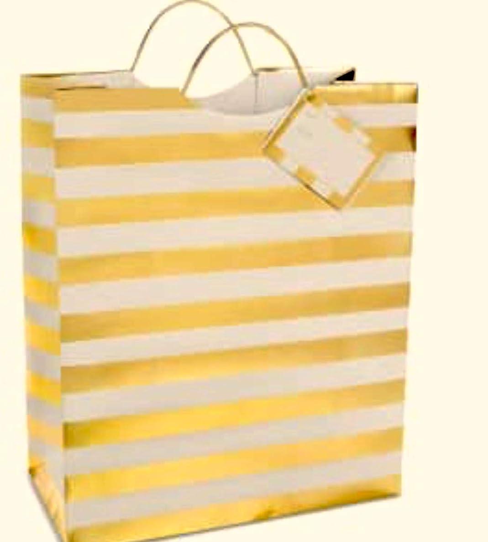Celebrate Shop Gold White Stripe Gift Bag