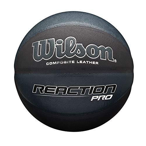 Wilson Pelota de Baloncesto Reaction Pro Shadow, Cuero Compuesto, Tamaño: 7, para Uso Interior y Exterior, Negro, WTB10135XB07