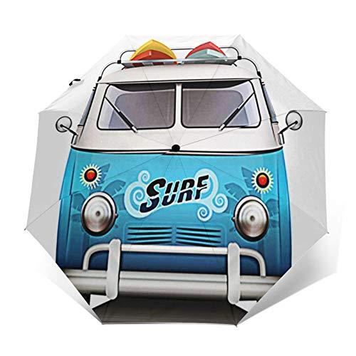 Regenschirm Taschenschirm Kompakter Falt-Regenschirm, Winddichter, Auf-Zu-Automatik, Verstärktes Dach, Ergonomischer Griff, Schirm-Tasche, Surf Surfer Caravan