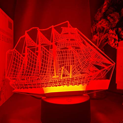 Only 1 Piece Sailing Ship Led Night Light Color Changing Kids Bedroom Nightlight Unique Gift for Birthday Bedroom Decor Table 3D Lamp Boat