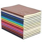 GRT A5 Cahier d'écriture coloré en cuir Journal Bloc-notes quotidien Journal de voyage mignon Lot de 4 couleurs aléatoires
