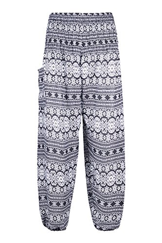 LOFBAZ Harem Pants for Women Yoga Boho Hippie Clothing Bohemian Palazzo Beach Maternity Pajama Gypsy Indian Travel Clothes Geometric Black 2XL