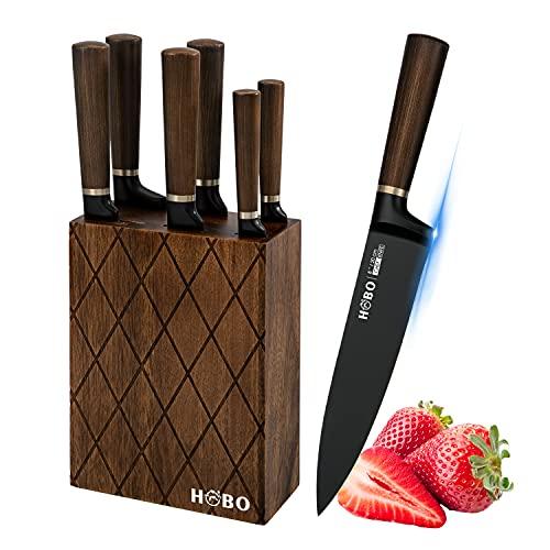 Messerset, HOBO 7-teiliges Küchenmesserset mit Blockholz, deutsches Edelstahl Kochmesser Block Set Enthält Kochmesser, Brotmesser, Santoku-Messer, Schneidemesser, Universalmesser und Gemüsemesser