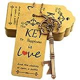 Aokbean 52pcs Vintage Skeleton Key Bottle Opener Party Favor Wedding Favor Guest Souvenir Gift Set with Escort Thank You Tag Card and Keychain(Antique Copper)