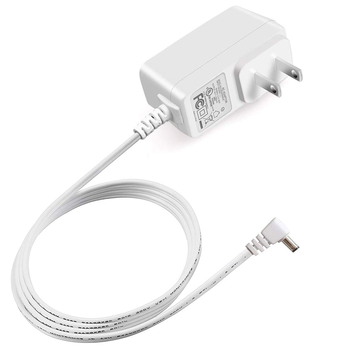 iCreatin UL Listed 7.5V 500mA AC Adapter Charger for Summer Infant Baby Monitor Models Including 29580 29650 28450 28650 29270 29590 28630 & Others Replacement Power Supply Cord 6.6Ft, White