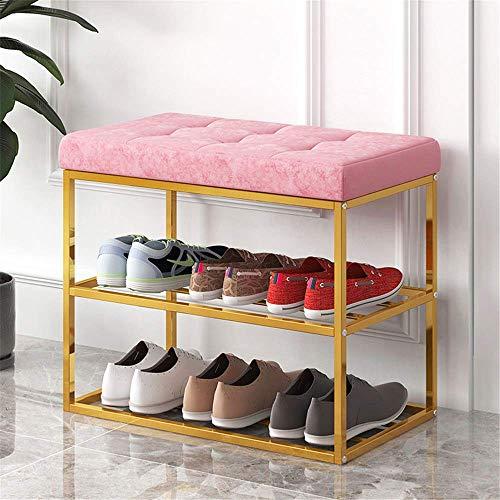 Shoe rack Banco de zapato duradero, estante de zapatos de 3 niveles para entrada, organizador de almacenamiento con asiento acolchado de espuma, marco de metal, para sala de estar, vestíbulo de vestíb