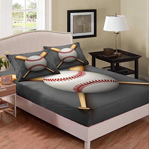 Erosebridal Baseball Decorations Bedding Baseball Bat Sheet Set Sports Themed Fitted Sheet Modern Fashion Bed Cover,Soft Microfiber 3 Pieces Bedding Set with 2 Pillowcases,Full