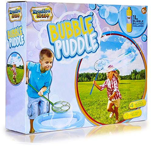 KreativeKraft Giant Bubbles Kit, Outdoor Games For Kids With 4 Wands, Garden Games For Children Includes 1 Litre Solution, Inflatable Tray, Enormous Huge Bubbles For Kids Toy From Age 5