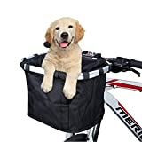 ANZOME Bike Basket, Folding Small Pet Cat Dog Carrier Front Removable Bicycle...