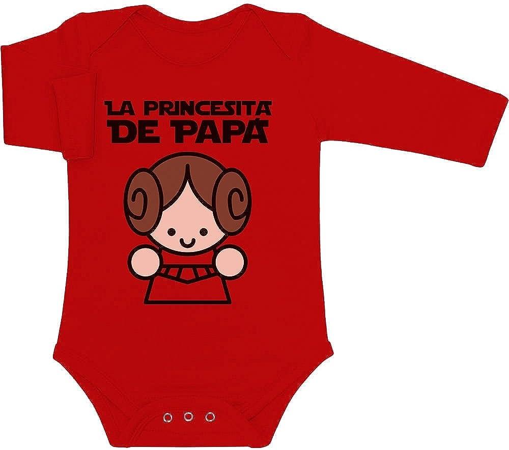 La Princesita de Papa - Regalo para el Padre Body bebé Manga Larga 6M Rojo: Amazon.es: Ropa y accesorios